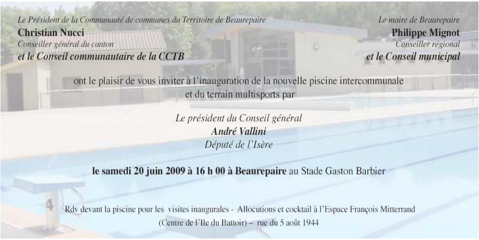 Carton Invitation Beaurepaire (piscine)