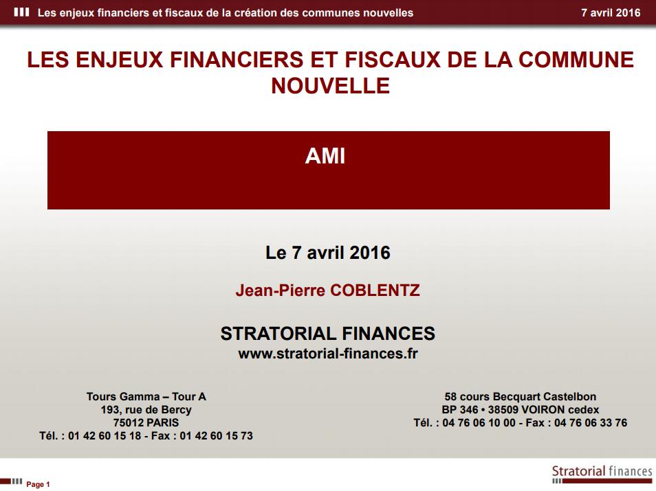 Les aspects financiers et fiscaux d'une commune nouvelle