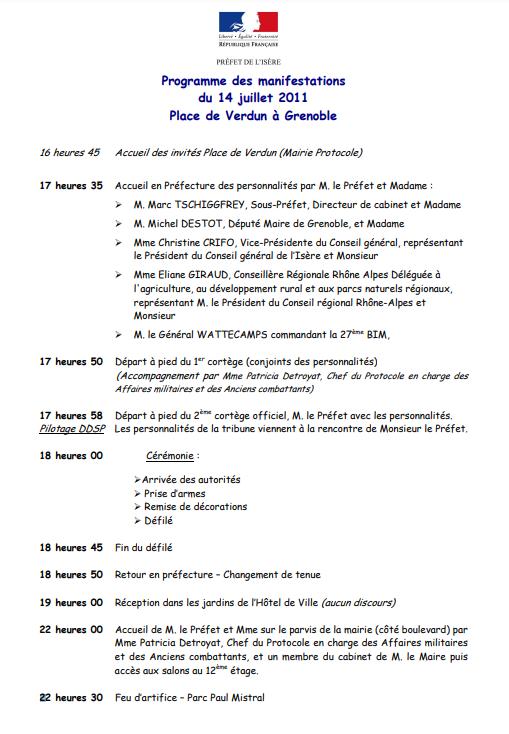 Programme 14 juillet